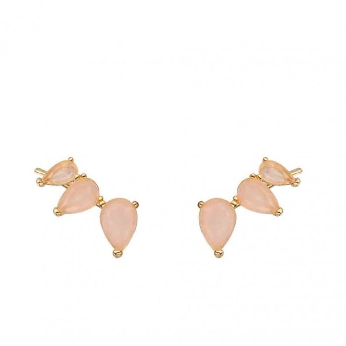 pendiente-mineral hoja cuarzo rosa